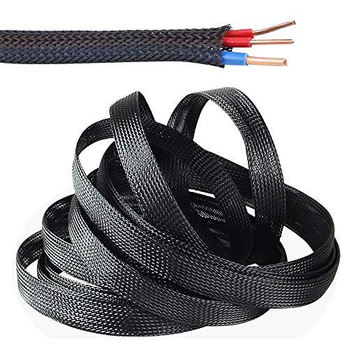 SENDILI Gewebter Kabelmantel - Schwarz Flexibler kabelkanal 10m Kabelschlauch mit Einstellbarem Durchmesser Cable Management, 12mm