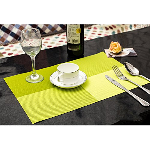 Lanlan quadratische Form Küche PVC Umweltfreundliche Wärmedämmung Eat Matte Tasse Schüssel Tischsets Wein Rot, grün Aktivität Runde Tisch