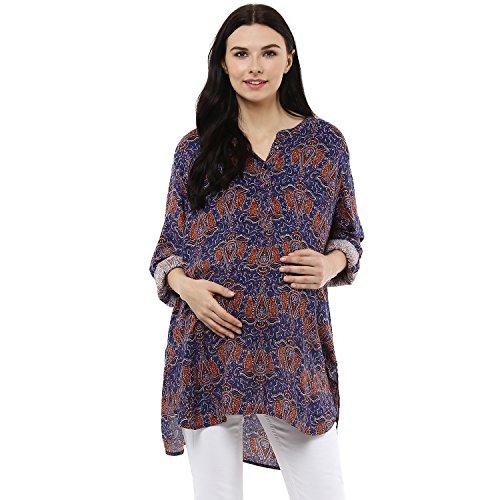 Wobbly Walk Women's Round Neck Maternity Tunic Blue