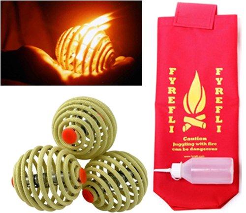 Fyrefli Fire-Jonglierbälle 68 mm/Kostenloser Tasche & Brennstoff-Flasche