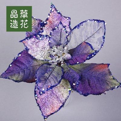 Zhudj fiore di natale argento verde e marrone colori parete fiore decorazioni per alberi di natale decorato in viola viola chiaro piccola