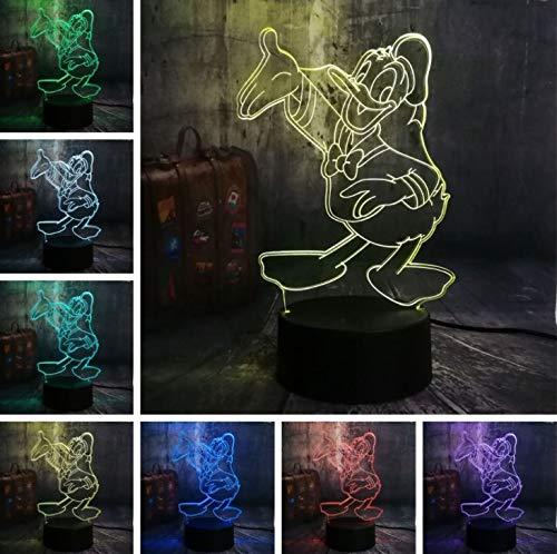 (Klsoo Neue Cartoon Schöne Nette Donald Duck 7 Farbwechsel 3D Led Nachtlichter Kinder Schlaf Schreibtischlampe Geburtstag Weihnachtsgeschenk Wohnkultur)