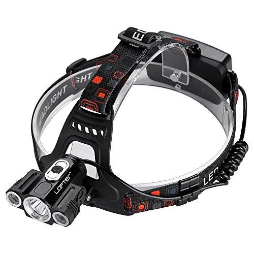 Stirnlampe, superhelle Kopflampe(600 Lumen), Kopfleuchten, LOFTer wasserdicht, mittels USB Kabel geladen werden,ein Halter fürs Fahrrad, weiche und einstellbare Bands,4 Modi