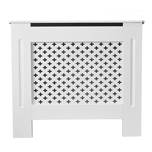 Tanburo Cubierta de Radiador, Cubre de Calentador Emisores Térmicos de Pared, Mate Pintado Estilo Rejilla, Fabricado por E1 MDF, Tamaño Mediano (112 x 19 x 81,5 cm), Blanco