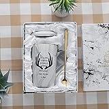 tuyuzhen Tazza in Ceramica con Coperchio Cucchiaio Tazza da tè Tazza da tè Tazza di caffè Corno d'oro e Berretti da Cucchiaio (Sacchetto di Montaggio della Scatola Regalo)
