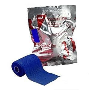 3M Scotchcast Plus Fiberglass Cast Tape 4 Inch X 12 Foot BLUE - 1 Roll