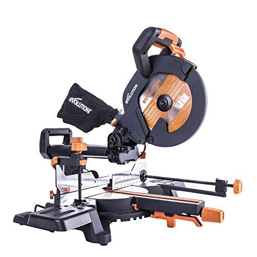 Evolution R255SMS+ Multi-Material Sliding Mitre Saw with Plus Pack, 255 mm (110V)