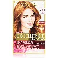 L'Oréal Paris Excellence Crema Colorante Triplo Trattamento Avanzato, 7.43 Biondo Ramato Dorato