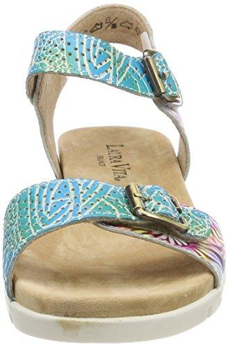 Laura Vita Damen Dobby 03 Offene Sandalen Türkis (Turquoise)