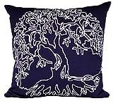 ElephantSteps Kissenbezug 40 x 40 cm Sofa Kissenhülle 100% Baumwolle Bedruckt Blau Weiß Zierkissenbezüge