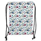 Drawstring Backpacks Bags,Surf Decor,Ocean Sunglasses Van Surfing Board Palm Trees...