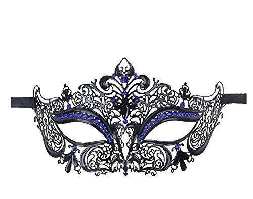 Venezianische Maske mit weißen Strass Masquerade Halloween Cosplay Partei (Schwarze Und Weiße Venezianische Maske)