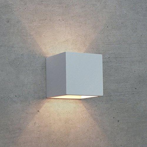 FUTUR PRINT® APPLIQUE LED IN GESSO LAMPADA DA PARETE MODERNO CUBO CON LAMPADINA LED ATTACCO G9 DA 5W A LUCE CALDA INCLUSA CUBO UP DOWN WALL LIGHT [Classe di efficienza energetica A+] - Staffa Maestro