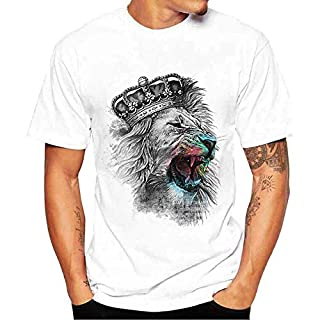 Men T-Shirts, Anglewolf Mens and Boys Plus Size Print Tees Short Sleeve O-Neck Cotton T-Shirt Tops (2XL, White 3)