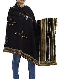 Handmade châle noir Wrap indien laine brodé Women's Accessoire 84X36 pouces