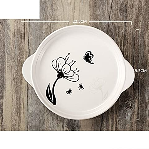 Round,no openings,double ear disc/ ceramic plates/[western-style],dessert plate/dessert-A