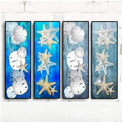 qiaoaoa 4 Stücke Leinwand Kunst Abstrakte Stillleben Seestern Sand Dollar Seestück Ölgemälde Moderne Landschaft Wandbild Poster 30x90 cm x 4 Kein Rahmen (Sand-dollar-kunst)