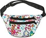 styleBREAKER Gürteltasche mit Blumen Print und Reißverschluss, Bauchtasche, Hüfttasche, Damen 02012242, Farbe:Mehrfarbig