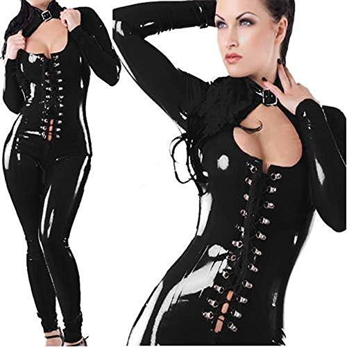 CDSS Sexy Frauen Bodycon Exotic Apparel Late Kunstleder Vinyl Catsuit Jumpsuit Clubwear Overall Kostüm Zipper Bodys