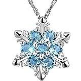 Leisial™ Nuovo Fiocco di Neve di Stile ha Modellato il Regalo di Natale di Anniversario dei Pendenti della Collana di Cristallo (Blu)