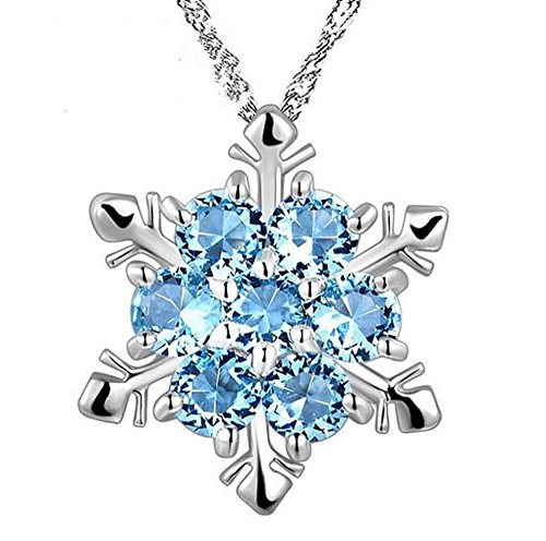 Hosaire Silver Crystal Snowflake Pendant Necklace Plated with Rhinestones and Decorated with Swarovski Element Crystal for Women Christmas Gift