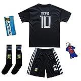 Argentinien #10 Messi Auswärts Schwarz Kinder Fußball Trikot Hose und Socken (24 (7-8 Jahre))