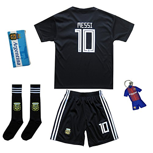 Argentinien Fußball Trikot (Argentinien #10 Messi Auswärts Schwarz Kinder Fußball Trikot Hose und Socken (24 (7-8 Jahre)))