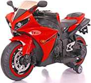 Toy House Yamaha R1 Plastic Bike with Rechargeable Battery Operated Ride-on for Kids (Red , 2-6 Years)