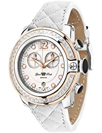 Glam Rock Women's GR32132D SoBe Chronograph Diamond Accented White Dial Quilted Leather Watch