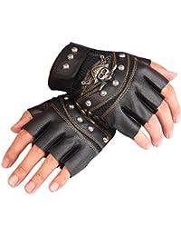 404ad2e58e9514 JYR Herren Steampunk Nieten Rock Half-Finger-Leder Half-Handed Performance  Handschuhe fahren…