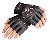 JYR Herren Steampunk Nieten Rock Half-Finger-Leder Half-Handed Performance Handschuhe Fahren Handschuhe-Schwarz
