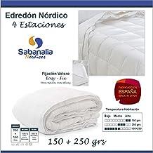 SABANALIA Edredón nórdico dúo, fibra, 4 estaciones (varios tamaños disponibles), cama de 105 cm - 180 x 220 cm