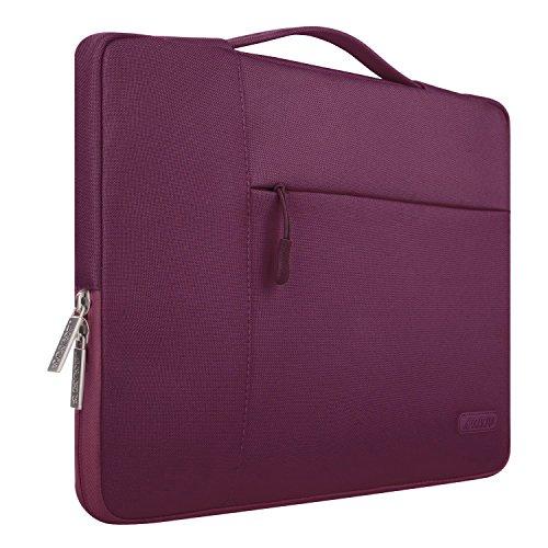 MOSISO Tasche Sleeve Hülle Kompatibel 15-15,6 Zoll MacBook Pro, Notebook Computer Multifunktionshülsen Spritzwasserfest Laptoptasche Handtaschen mit zusätzlichem Stauraum Polyester Hülle, Weinrot