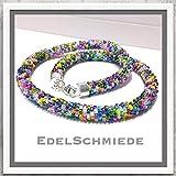 Halskette gehäkelt mit Glasperlen (Rocailles) 925 Silber Verschluß - bunt - 49cm