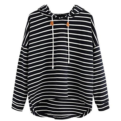 Sweatshirt Femme Imprimé, LMMVP Femmes Grande Taille Bande Décontractée Manche Longue Sweat à Capuche Pullover Sweat-shirt Chemisier