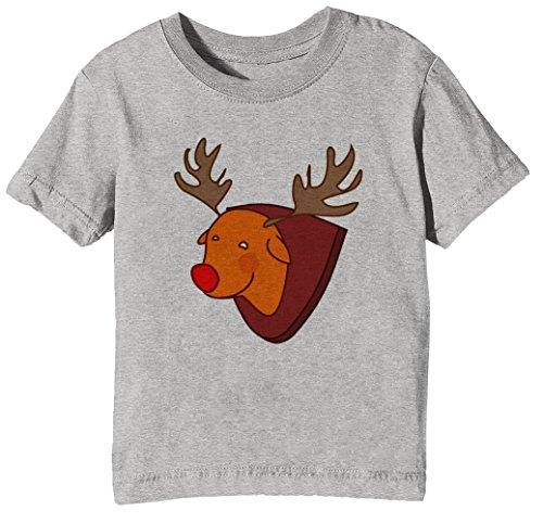 Ausgestopft Elch Kinder Unisex Jungen Mädchen T-Shirt Rundhals Grau Kurzarm Größe XL Kids Boys Girls Grey X-Large Size XL (Ausgestopfte Tiere Wald)
