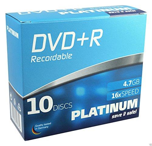 PLATINUM DVD+R 4,7 GB DVD-Rohlinge (16x Speed) 10er Slim Case