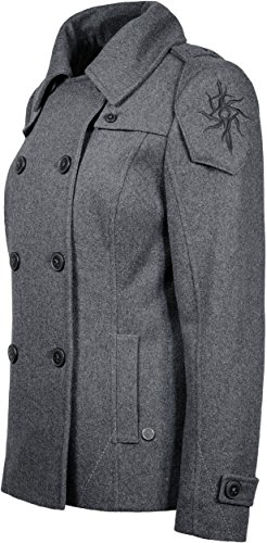 Musterbrand Dragon Age Jacke Damen Seeker Peacoat Wollmantel Grau 34 (XS) - 4