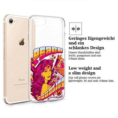 finoo | iPhone 8 Plus Weiche flexible Silikon-Handy-Hülle | Transparente TPU Cover Schale mit Motiv | Tasche Case Etui mit Ultra Slim Rundum-schutz |Portrait Color smile Peace Love