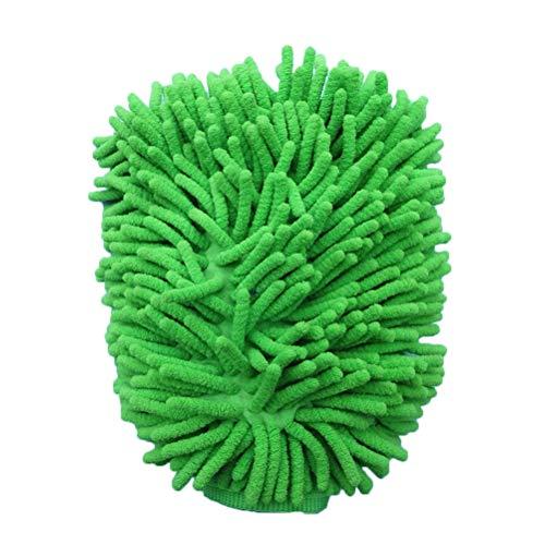 Laduup Guanto da Auto Impermeabile in Microfibra Assorbente Morbido Corallo Auto ciniglia Guanto da Doccia con Panno di Pulizia Panno per Lavaggio Auto, Verde
