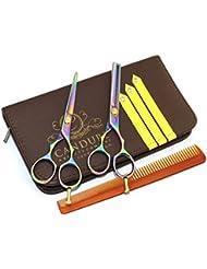 CANDURE® - Set Coiffure en Acier Inoxydable - ciseaux de coiffure, 5.5,Professionnels Ciseaux - Ciseaux de Coiffure + Ciseaux Sculpteurs Professionnels - 13,27 cm (5.5'') - Noir + Housse