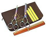 Canduré - Set de acero inoxidable para el cabello - tijeras de pelo + Tijeras escultores profesionales - 13,27 cm (5,5 '') - Case + Negro