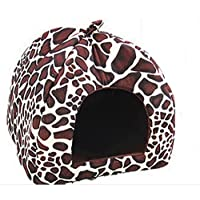Lymocha 1x Pet Nest Soft Warm Dog Cat Bed House Lovely Strawberry Design Non-slip Foldable Plush Pet Nest Cave for Little Dog and Cat size 26 * 26 * 28cm (Leopard S)
