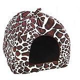 Leisial 1pc Casa de Perro del Animal Lindo Suave Acogedor Caliente Casa Para Perro Gato Mascota Domésticos Conejillo ,Leopardo - 36*36cm