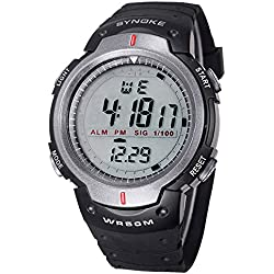 Multifunctional Men Timer Water Resistant 50M Swimming Sports Running Digital Watch With Rubber Strap-Gray