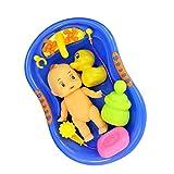 Gazechimp Kinder Badewannenspielzeug Set aus Kunststoff Puppen und Badewanne Set für Baby Badespaß - Blau