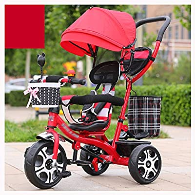 RUMIAO Baby Tricycle, [Rotating Seat] Baby Stroller, Adjustable Three-wheeled Cart, Increase Rear View Sunroof, Double Brake System, 0-6 Months,Red