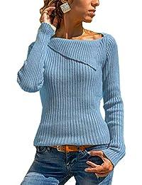 kefirlily Donna Costine Fine Maglia Aderente di Base Pullover 2fe37648b9b