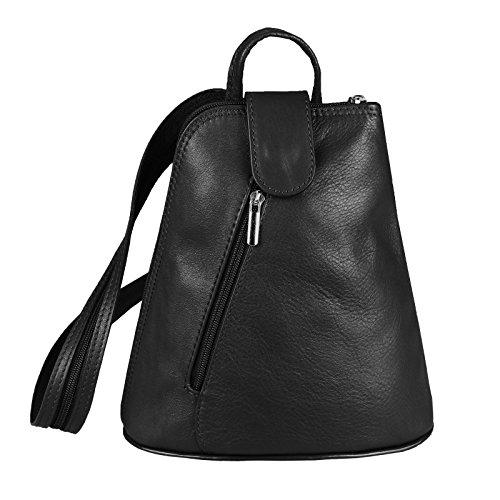 Rucksack Schultertasche Stadtrucksack Backpack Handtasche Organizer Daypack Tablet bis ca. 8 Zoll Leder 22x23x12 Schwarz ()