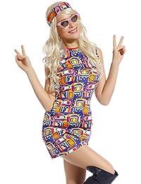 Ladies 60s 70s Groovy Hippy Flower Fancy Dress Costume